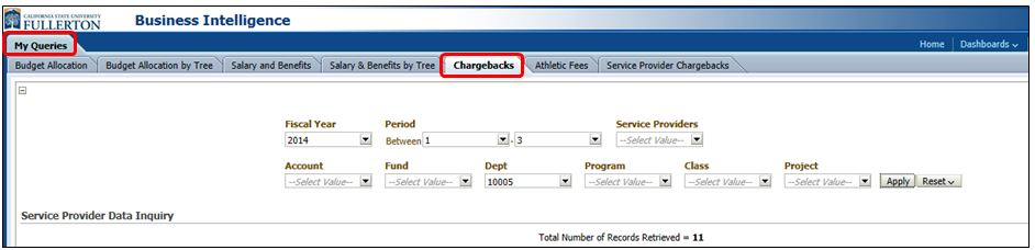 Where to access chargebacks in OBIEE