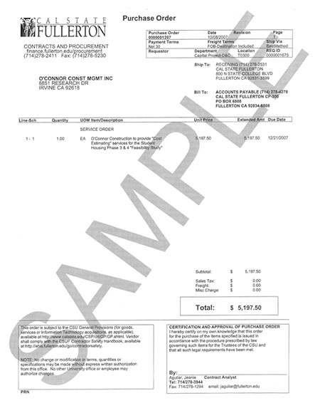 sample of purchase order